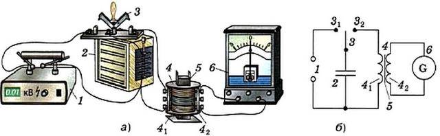 Установка для получения свободных электромагнитных колебаний